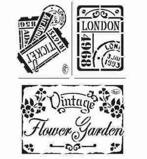 stencil vintage flower garden