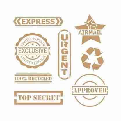 Stencil vintage labels 25 x 25 cm