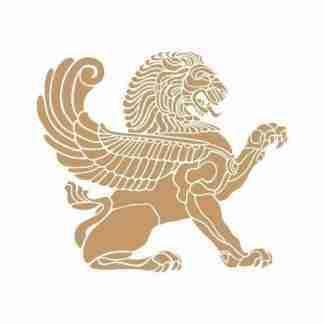 Stencil aziatische leeuw met vleugels