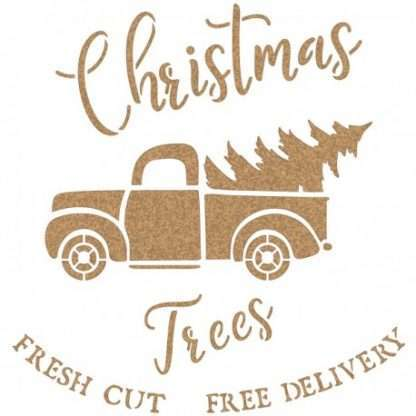 Stencil Christmas truck - 40 x 40