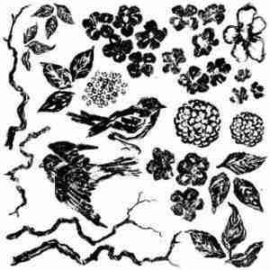 OD - Decor Stempel Birds Branches Blossoms