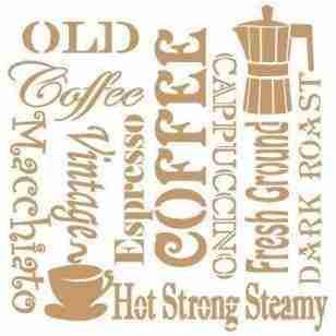 Stencil vintage Coffee 40 x 40 cm