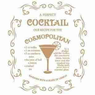Stencil cocktail cosmopolitan 40 x 60