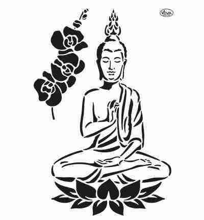 Stencil Buddha & Orchidee
