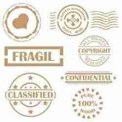 Stencil vintage stamps - 25 x 25