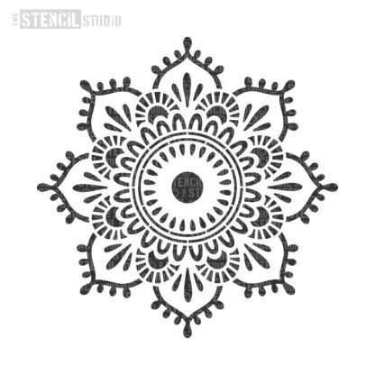 Eva Mandala Indian stencil - half design A4