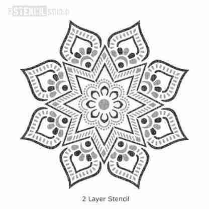 Mandi Indian Mandala stencil - half design A4, 2 delig