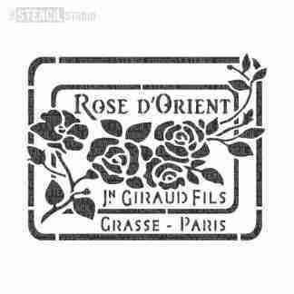 StencilStudio Rose d'orient vintage perfume label A4
