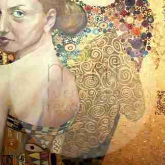 MINT decoupage papier Beautiful lady in gold