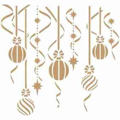 Stencil kerstballen 25 x 25 cm