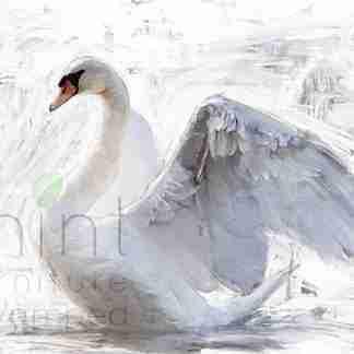 Mint decoupage paper White Swan