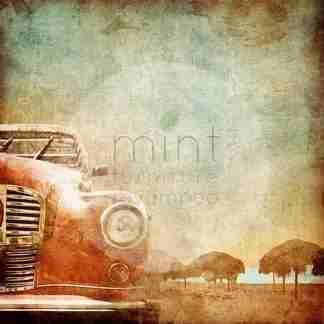 Mint decoupage papier Old Red Car