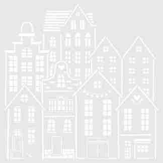 Stencil Huisjes 40 x 40 cm