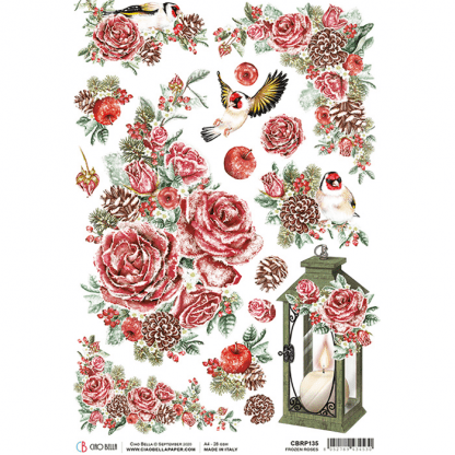 Ciao Bella rice paper Frozen roses A4