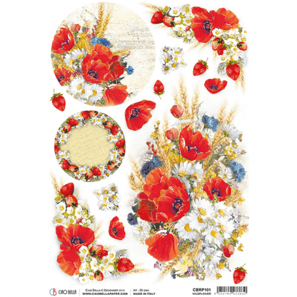 Ciao Bella rice paper Wildflower A4