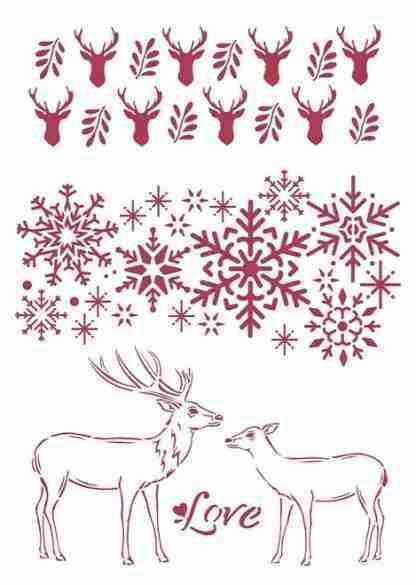Stencil Winter tales love A4